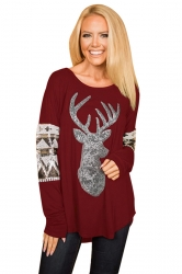 Womens Long Sleeve Reindeer Printed Sequin Christmas T-Shirt Ruby