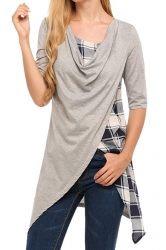 Womens Half Sleeve Plaid Patchwork Asymmetrical Hem Slit T-Shirt Gray
