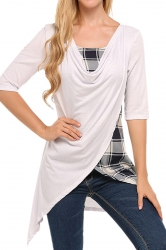 Womens Half Sleeve Plaid Patchwork Asymmetrical Hem Slit T-Shirt White
