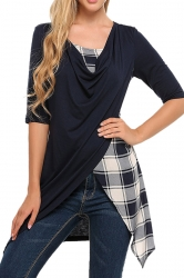 Womens Half Sleeve Plaid Patchwork Asymmetrical Hem T-Shirt Navy Blue