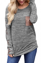 Womens Round Neck Cross Lace Up Long Sleeve Pocket Plain T-Shirt Gray