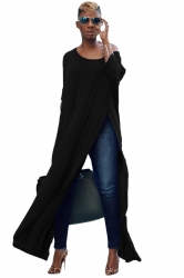 Womens Sexy One Shoulder Long Sleeve High Slit Maxi T-Shirt Black