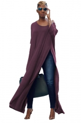 Womens Sexy One Shoulder Long Sleeve High Slit Maxi T-Shirt Purple