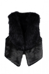 Womens Stylish Sleeveless Asymmetric Hem Faux Fur Vest Black