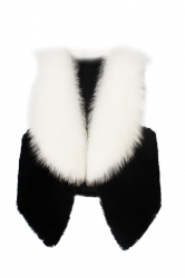 Womens Stylish Sleeveless Asymmetric Hem Faux Fur Vest White