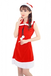 Womens Cute Fur Ball Sleeveless Christmas Santa Costume Red