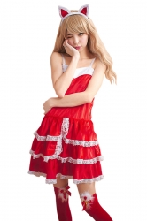 Womens Cute Lace Tube Backless Cape Christmas Santa Costume Red