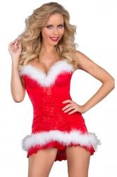 Womens Sexy Bandage Spaghetti Straps Santa Christmas Lingerie Red