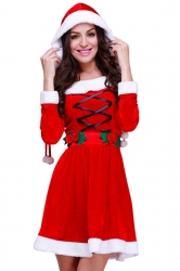 Womens Hooded Fur Trim Long Sleeve Lace Up Christmas Santa Costume Red