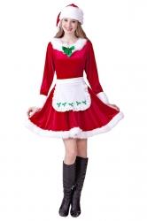 Womens Cute Fur Trim Bow Apron Mrs Claus Christmas Santa Costume Red