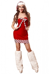 Womens Sexy Off Shoulder Bow Striped Christmas Santa Costume Red