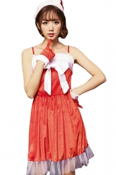 Womens Sexy Bow Spaghetti Straps Backless Christmas Santa Costume Red