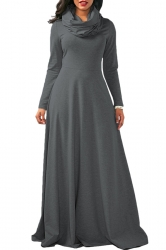 Womens Cowl Neck High Waisted Long Sleeve Plain Maxi Dress Dark Gray