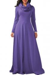 Womens Cowl Neck High Waisted Long Sleeve Plain Maxi Dress Purple
