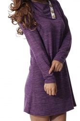 Womens Turndown Collar Button Design Loose Long Sleeve Dress Purple