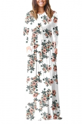 Womens Vintage High Waisted Pocket Flower Printed Maxi Dress White
