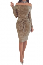 Elegant Off Shoulder Long Sleeve Bandage Waist Midi Pencil Dress Khaki