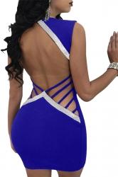 Womens Deep V Cut Out Backless String Clubwear Dress Sapphire Blue