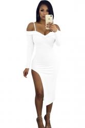 Womens Spaghetti Straps Long Sleeve High Slit Bodycon Club Dress White