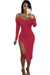 V-Neck Spaghetti Straps Long Sleeve High Slit Bodycon Club Dress Ruby