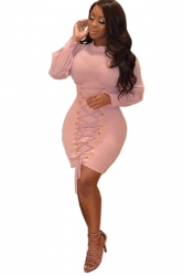 Womens High Collar Long Bell Sleeve Eyelet Lace Up Bodycon Dress Pink