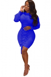 High Collar Long Bell Sleeve Lace Up Plain Bodycon Dress Sapphire Blue