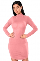 High Collar Long Sleeve Back Lace Up Cut Out Plain Bodycon Dress Pink