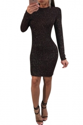 Womens Crew Neck Back Lace Up Cut Out Spun Gold Bodycon Dress Black