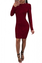 Womens Long Sleeve Back Lace Up Cut Out Spun Gold Bodycon Dress Ruby