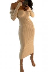 Womens Sexy Off Shoulder V-Neck Long Sleeve Plain Clubwear Dress Beige