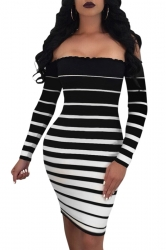 Womens Sexy Off Shoulder Stripe Bodycon Clubwear Dress Black And White