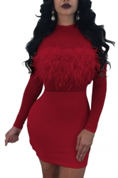 Womens Sexy Fur Sheer Crew Neck Long Sleeve Plain Bodycon Dress Red