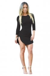 Womens Sexy Crew Neck Side Slit Long Sleeve Bodycon Mini Dress Black