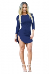 Womens Sexy Crew Neck Side Slit Long Sleeve Mini Dress Sapphire Blue