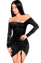 Womens Sexy Off Shoulder Lace Up Bandage Bodycon Clubwear Dress Black