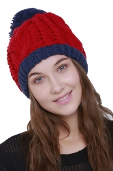 Womens Warm Faux Fuzzy Fur Color Block Cable Knit Cuff Beanie Hat Blue