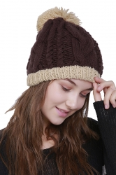 Womens Faux Fuzzy Fur Color Block Cable Knit Cuff Beanie Hat Coffee