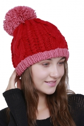 Womens Warm Faux Fuzzy Fur Color Block Cable Knit Cuff Beanie Hat Red