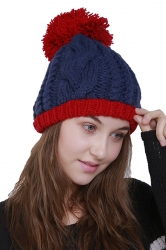 Womens Faux Fuzzy Fur Color Block Cable Knit Cuff Beanie Hat Navy Blue
