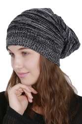 Womens Warm Slouchy Cable Knit Skullies Beanie Hat Black And White
