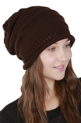 Womens Warm Outdodr Slouchy Cable Knit Skullies Beanie Hat Brown