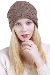 Womens Fashion Outdodr Slouchy Cable Knit Skullies Beanie Hat Khaki
