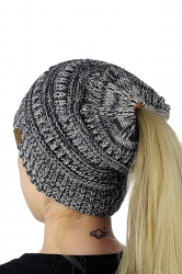 Ponytail Stretch Cable Messy High Bun Knit Beanie Hat Black And White
