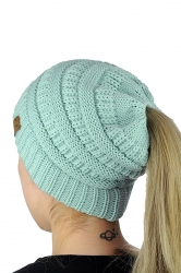 Womens Soft Ponytail Stretch Cable Messy High Bun Knit Beanie Hat Blue