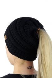 Womens Ponytail Stretch Cable Messy High Bun Knit Beanie Hat Black