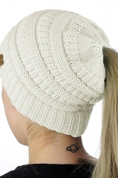 Womens Ponytail Stretch Cable Messy High Bun Knit Beanie Hat White