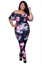 Womens Sexy Off Shoulder Ruffled Collar Plus Size Jumpsuit Black
