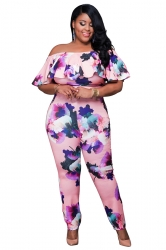 Womens Sexy Off Shoulder Ruffled Collar Plus Size Jumpsuit Pink