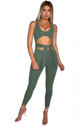 Womens Halter Deep Round Neck Back Zipper Cut Out Jumpsuit Army Green