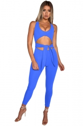 Womens Halter Round Neck Bandage Back Zipper Cut Out Jumpsuit Blue